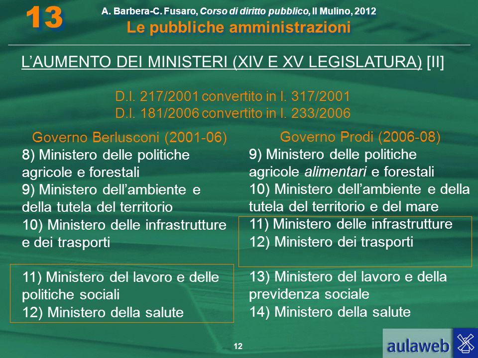 13 L'AUMENTO DEI MINISTERI (XIV E XV LEGISLATURA) [II]